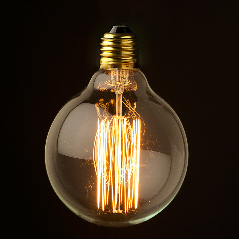 Vintage edison 95mm round squirrelcage tungsten filament bulb e27 Tungsten light bulbs