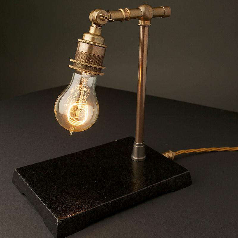 vintage industrial brass small table lamp. Black Bedroom Furniture Sets. Home Design Ideas