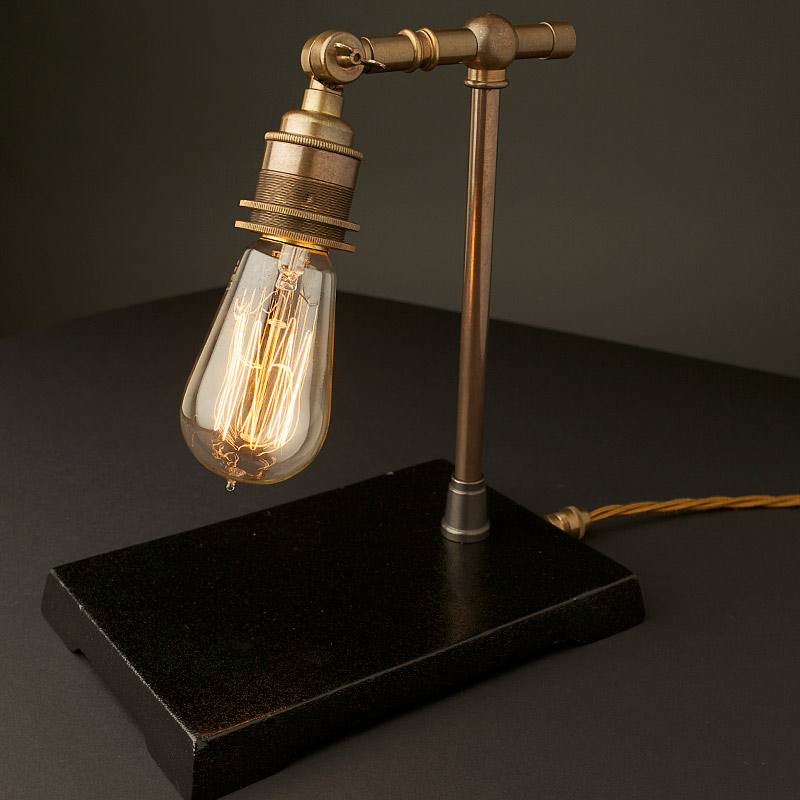 Vintage industrial brass small table lamp aloadofball Images
