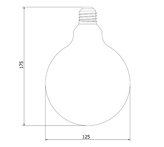 Outdoor Lamp Cad Block: Vintage Edison Spherical Spiral Filament Bulb 125mm