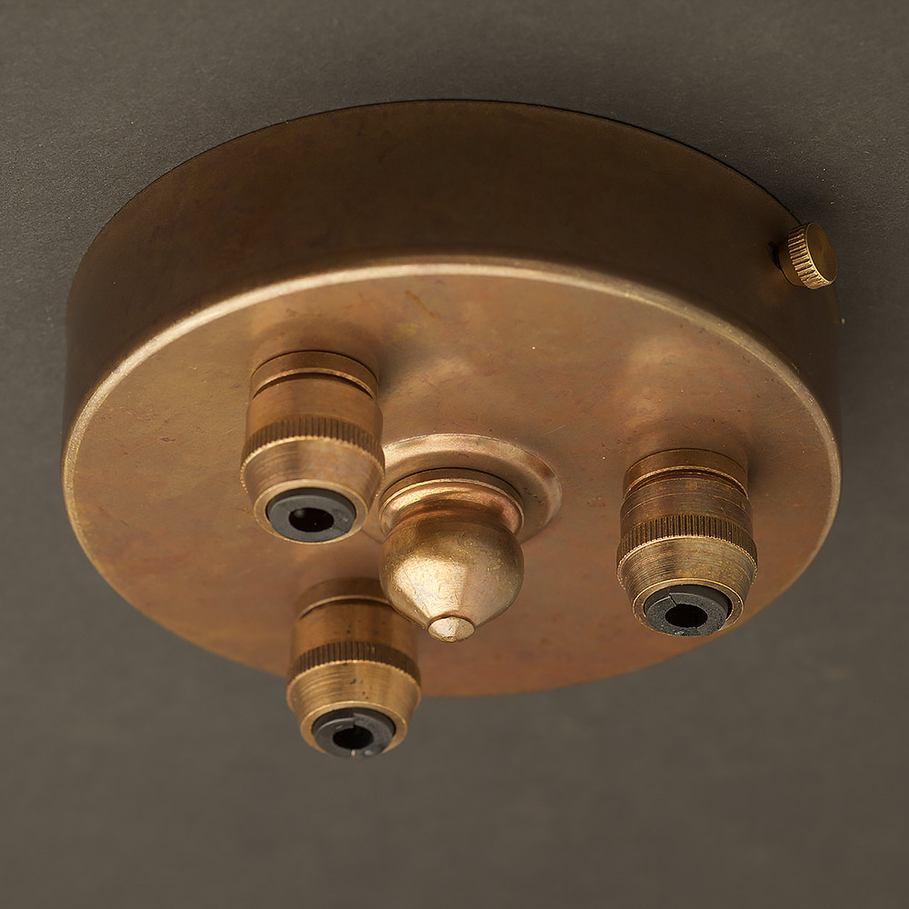 Drop Ceiling Hardware : Brass multiple drop cord grip ceiling plate