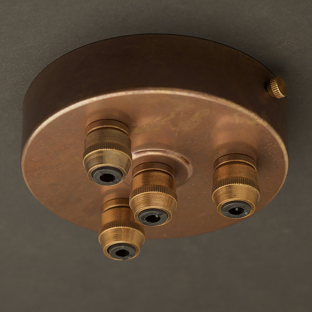 Getting To Grips With Ceiling Lighting: Brass Multiple Drop Cord Grip Ceiling Plate