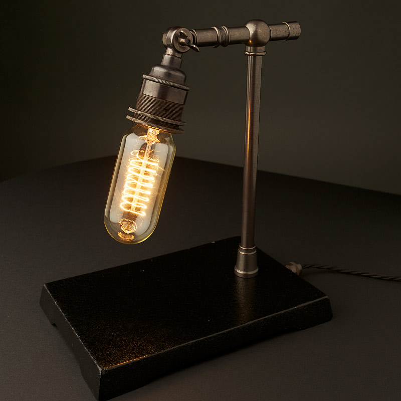 Vintage industrial bronze small table lamp aloadofball Gallery