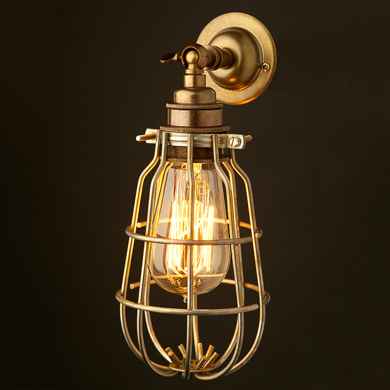 Wall Bracket Light Fittings : Mex&Co Brass Caged Wall mount Lampholder E27 fitting