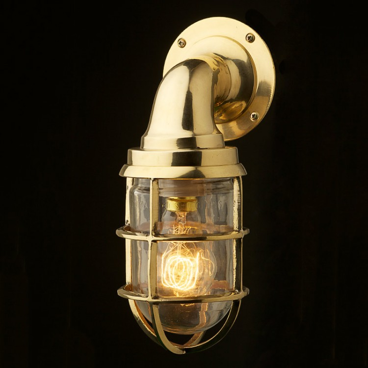Wall Lights In Brass : Vintage Ship Brass Bulkhead Wall Light