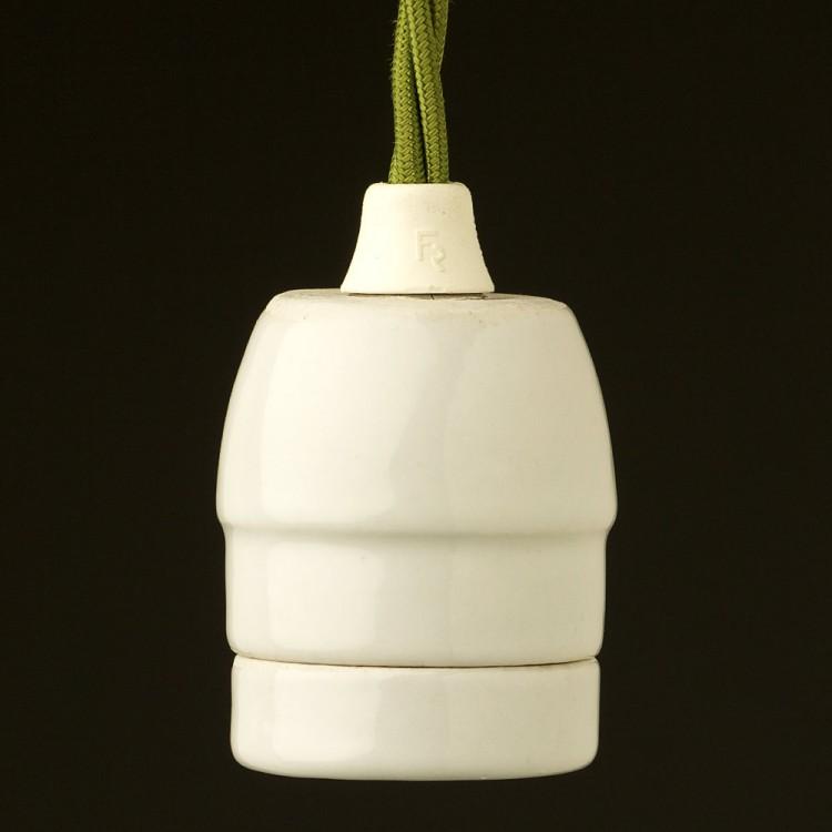 White Porcelain E27 pendant lampholder