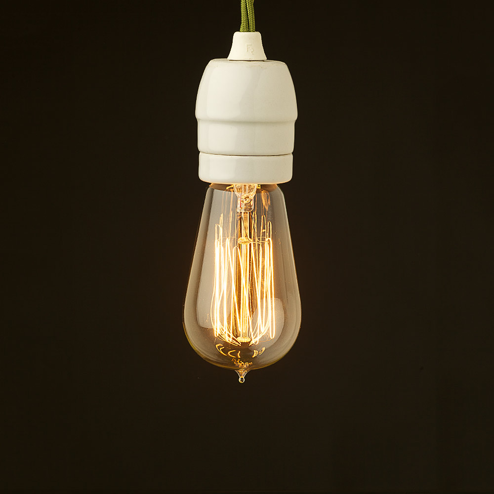 Edison Style Light Bulb And E27 White Porcelain Fitting