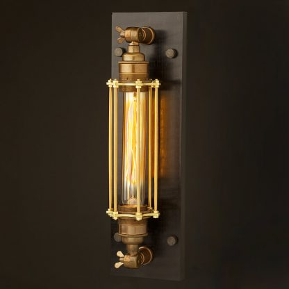 Brass Medium Bulb Cage Wall Mount Lamp E27