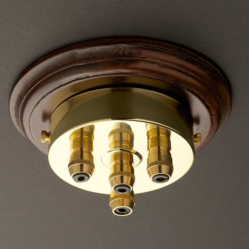 Getting To Grips With Ceiling Lighting: New Brass Multiple Drop Cord Grip Ceiling Plate