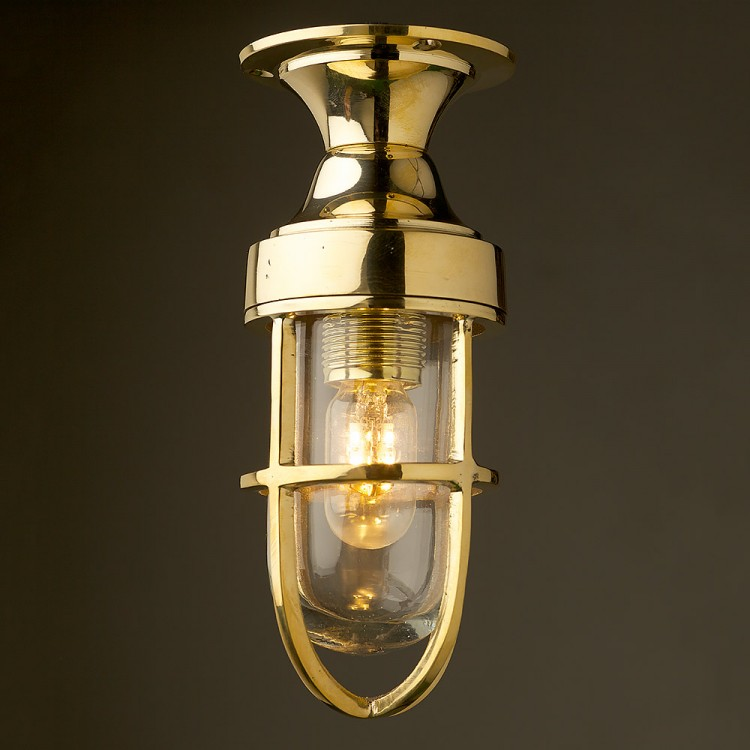 Small Vintage Ship's Brass Ceiling Light