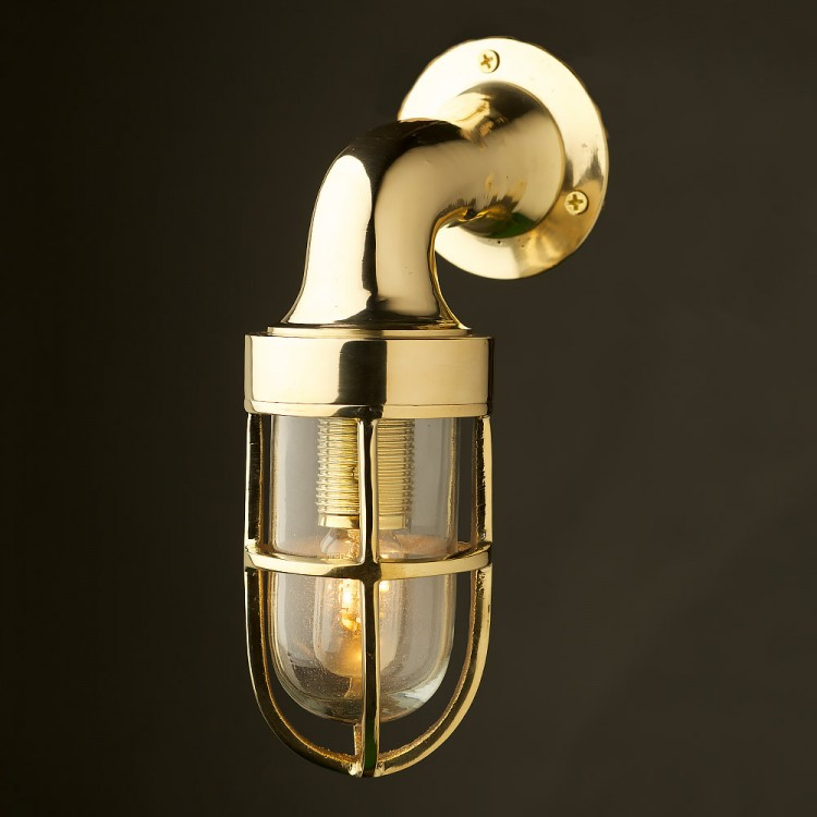 Small Vintage Ship s Brass Wall Light
