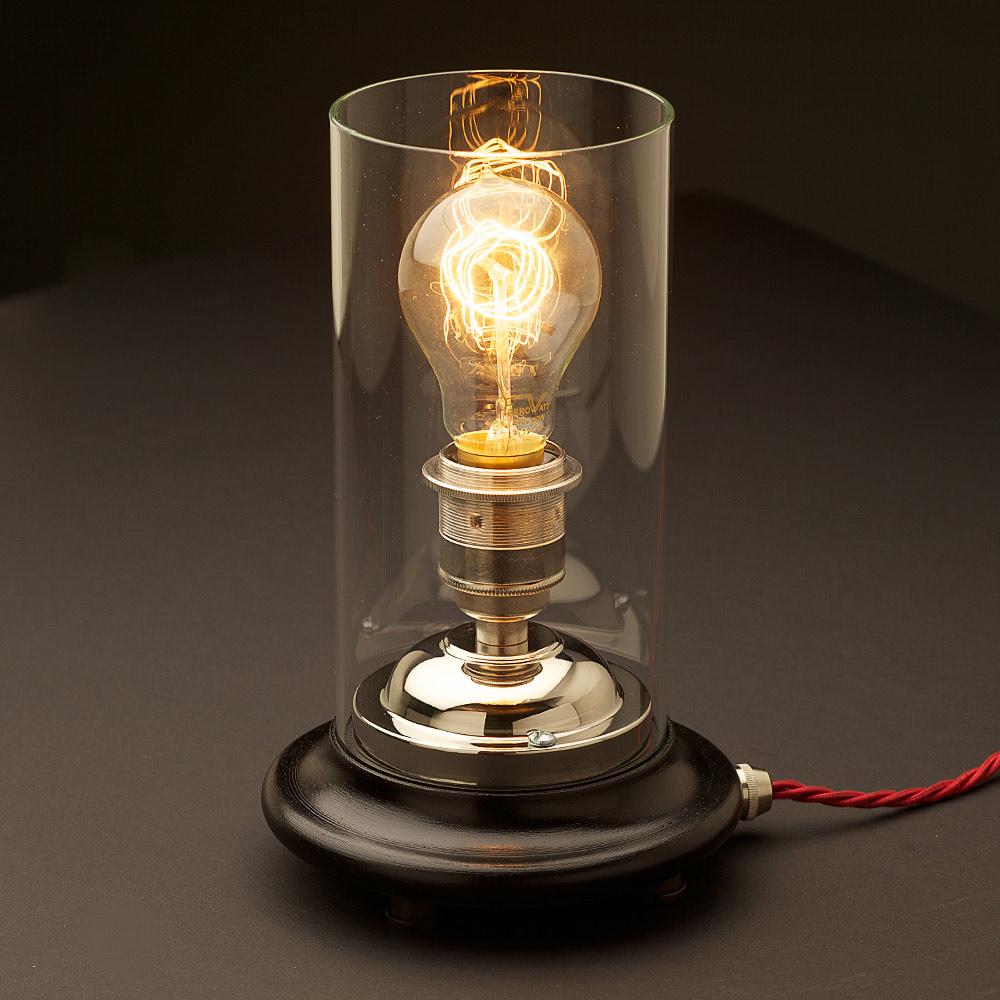 Vintage Glass Tube Nickel Lamp