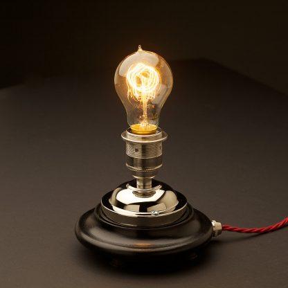 Vintage Glass tube Nickel Table lamp
