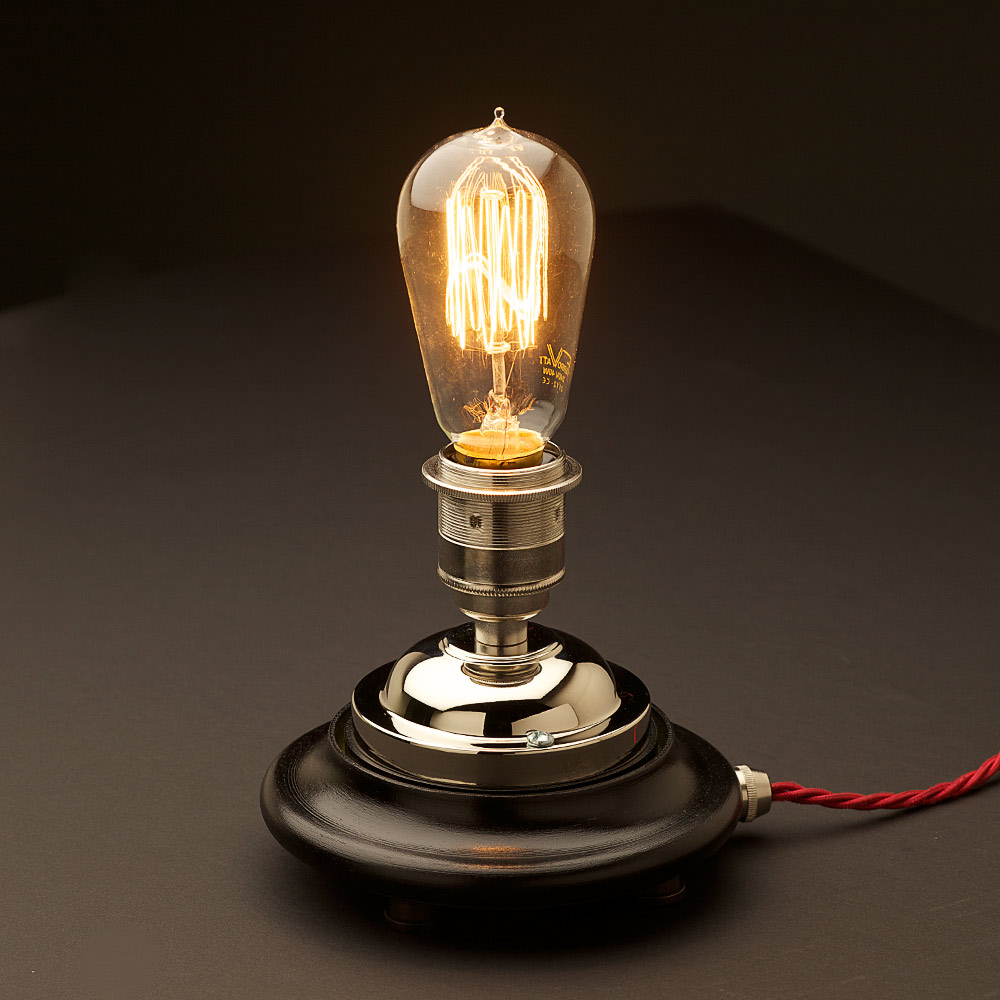 Vintage Glass Tube Nickel Table Lamp