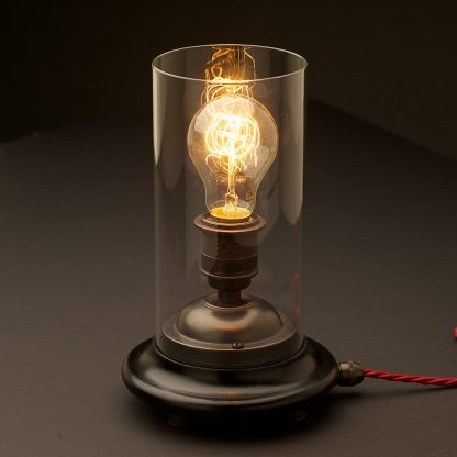 Vintage Glass tube Bronze Table lamp