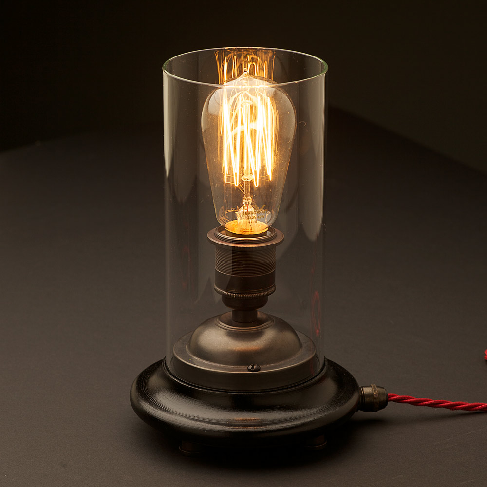 Vintage Glass Tube Bronze Lamp