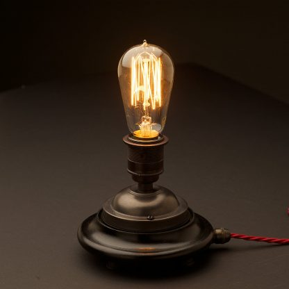 Vintage Glass tube Bronze Table lamp with no glass and standard vintage teardrop globe