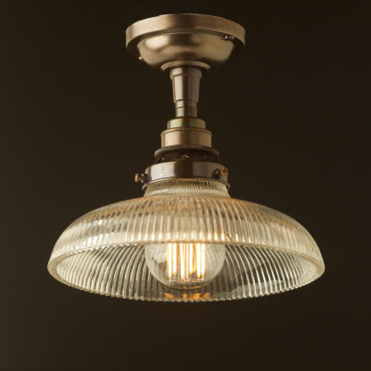 Antique Brass Batten Holder Edison E27 fitting holophane dish
