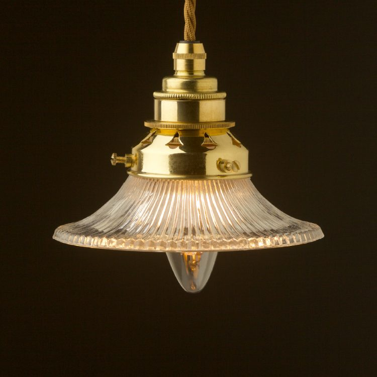 Small Holophane flat glass light shade pendant