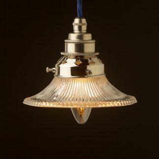 Small Holophane flat glass light shade pendant