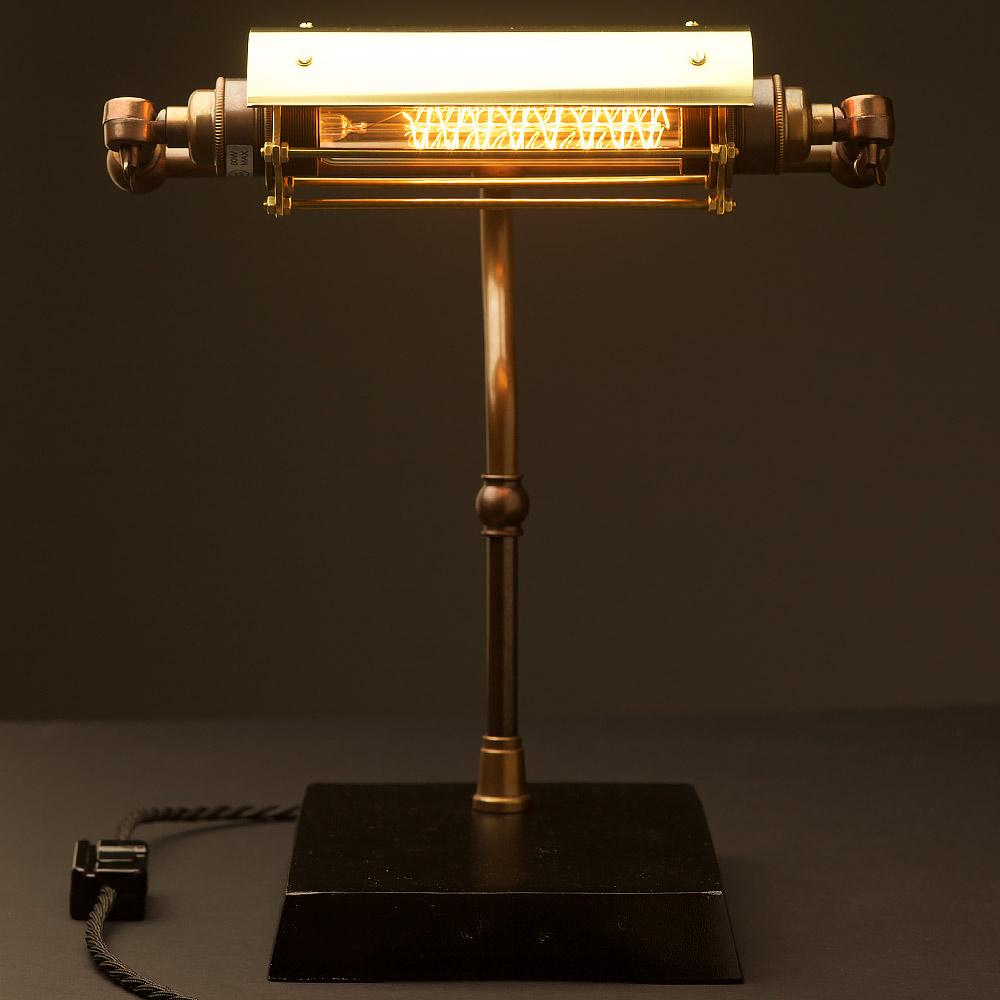 Vintage brass steampunk banker table lamp aloadofball Images