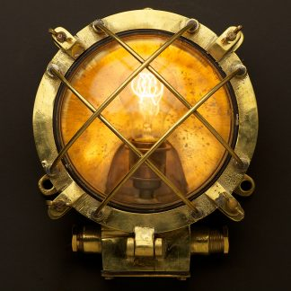 Brass Ships Round diagonal Cage Bulkhead Light