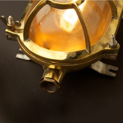 Brass Ships Oval Caged Bulkhead Light