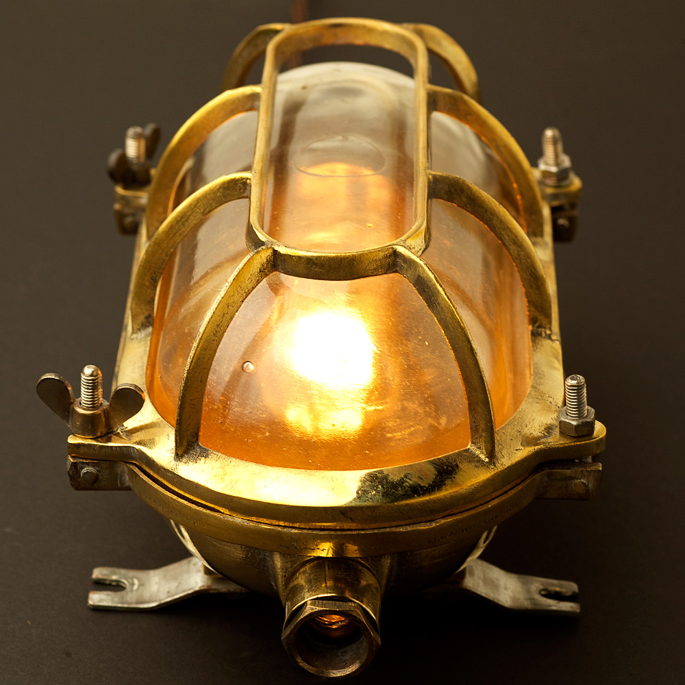 Brass Ships Oval Caged Bulkhead Light Edison Light