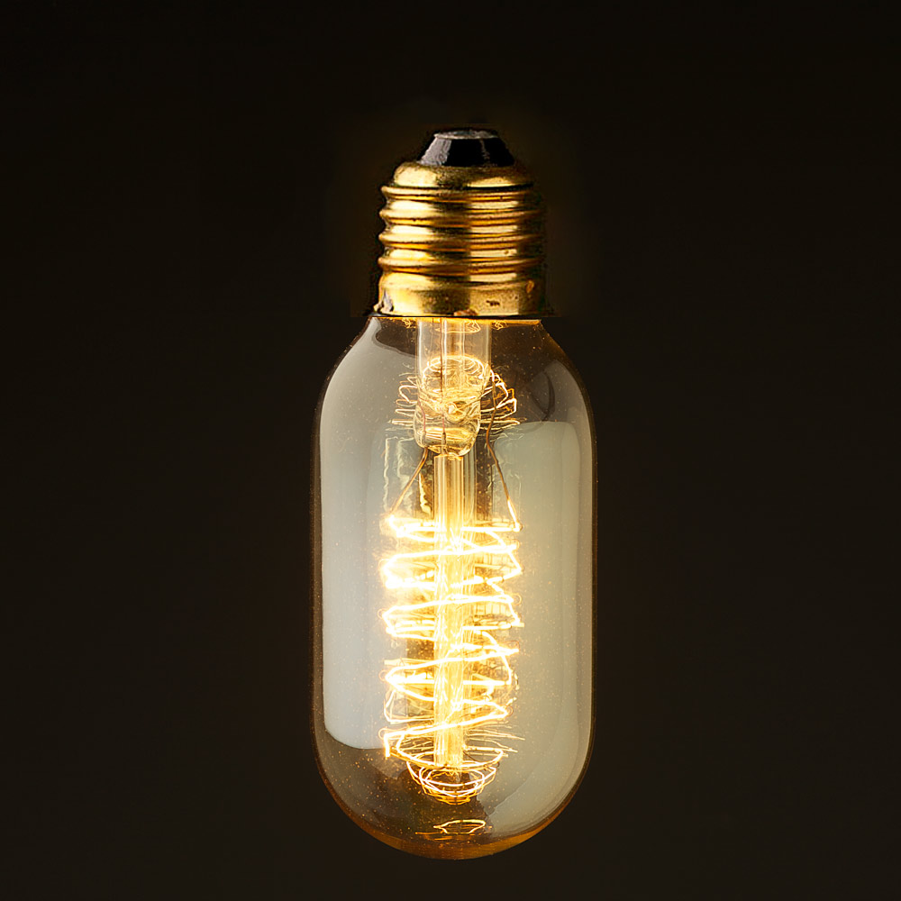 Vintage Edison Squirrel Cage Small Tube Filament Bulb