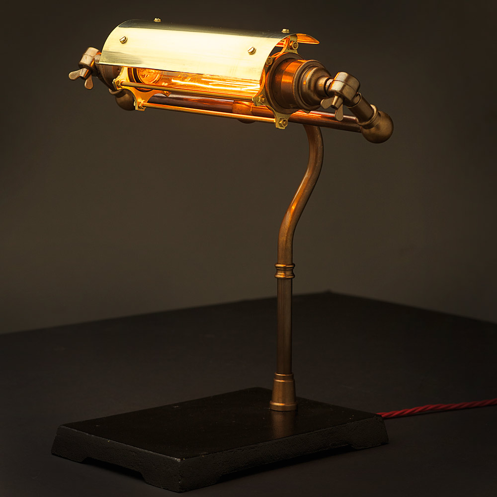 Vintage brass steampunk banker lamp shade