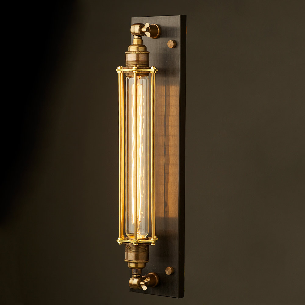 brass long bulb cage wall mount lamp e27. Black Bedroom Furniture Sets. Home Design Ideas