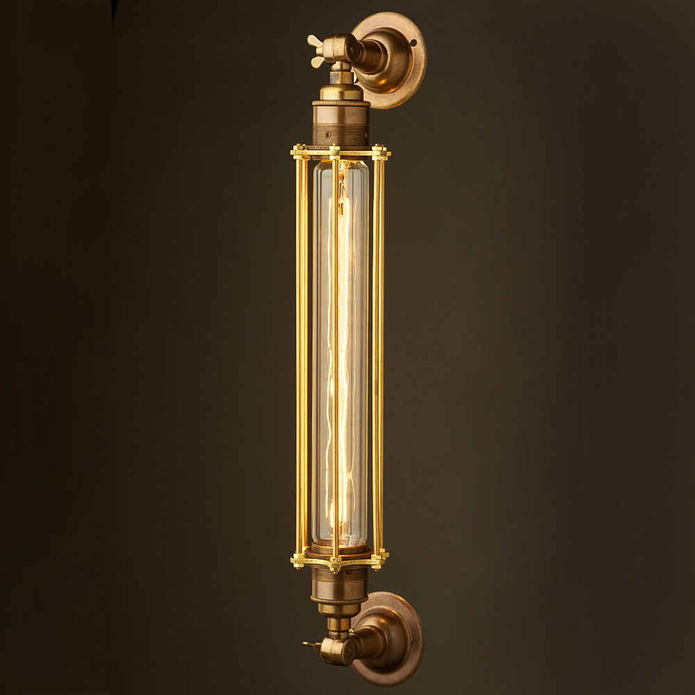 Wall Mounted Brass Lamps : Brass Long Bulb Cage Wall Mount Lamp E27