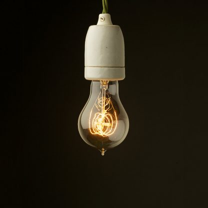 Edison style light bulb E27 White Plain Porcelain fitting