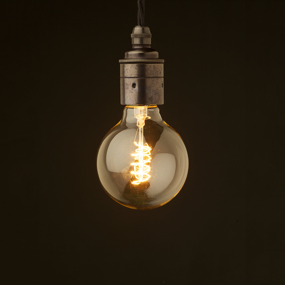 edison style light bulb and e27 smooth bronze fitting