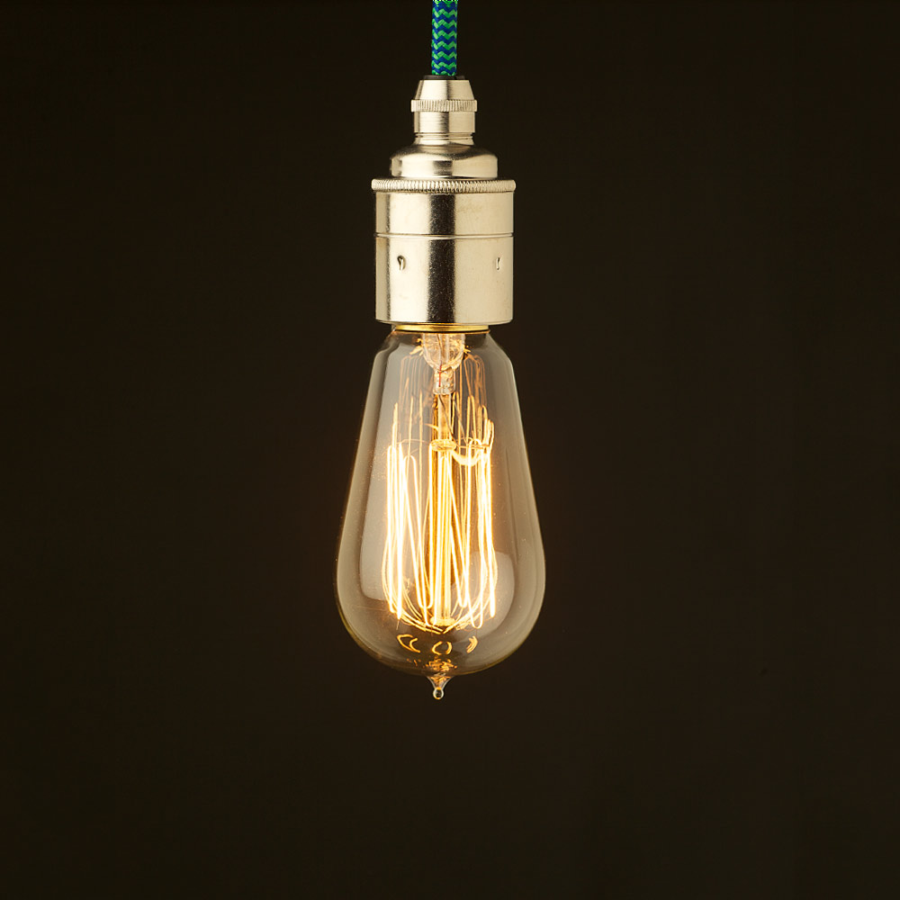 edison style light bulb and e27 smooth nickel fitting