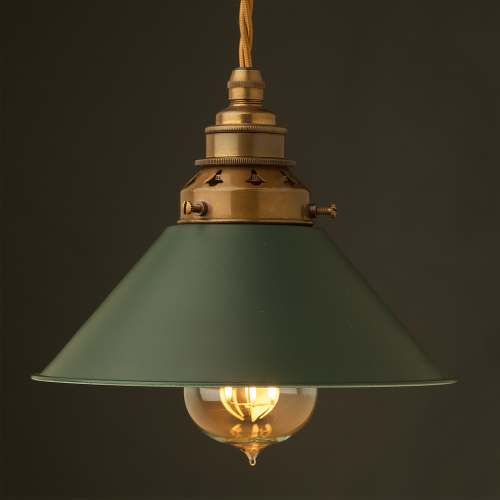 inch green coolie light shade and brass e27 lampholder. Black Bedroom Furniture Sets. Home Design Ideas