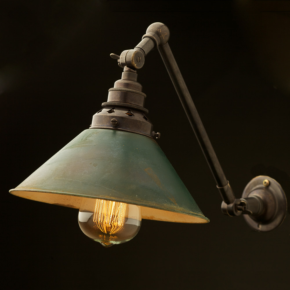 Wall Mounted Articulated Lamp : Bronze Adjustable Arm Wall Mount E27 And Shade