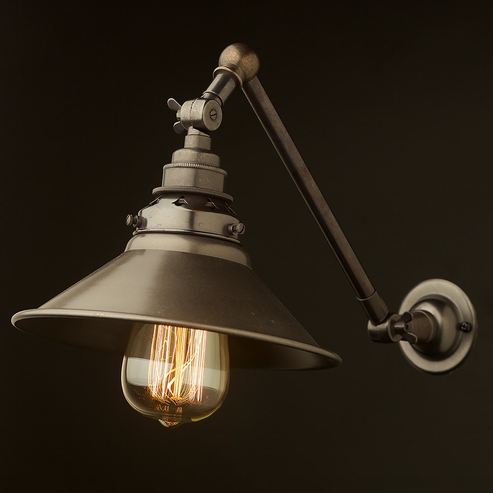 Wall Mount Lamp With Shade : Bronze Adjustable Arm Wall Mount E27 And Shade