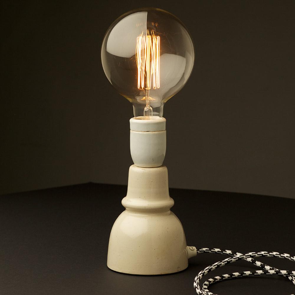 Vintage ceramic insulator table lamp for Light bulb table lamp