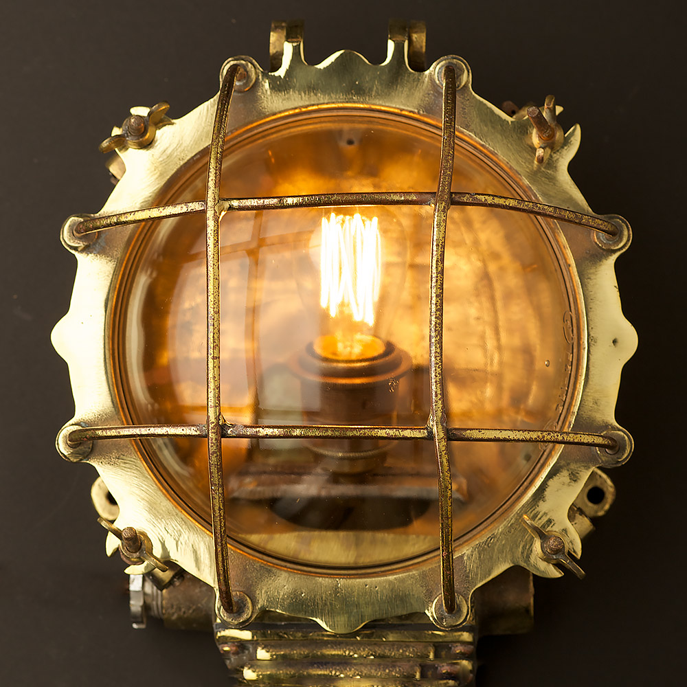 Round Globe Wall Lights : Brass Ships Round horizontal Cage Bulkhead Light