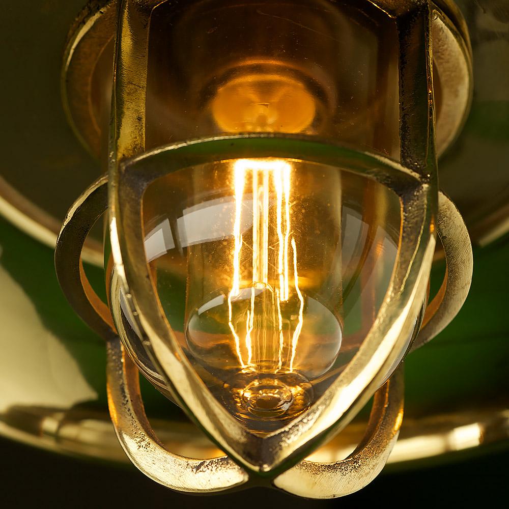 Vintage Brass Caged Reflector Ceiling Light Edison Light