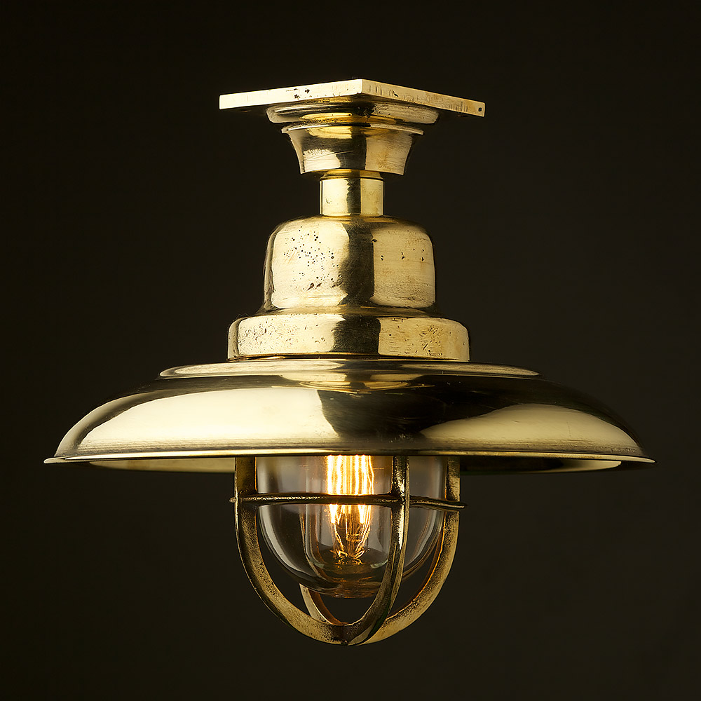 Brass caged reflector ceiling light vintage brass caged reflector ceiling light arubaitofo Image collections