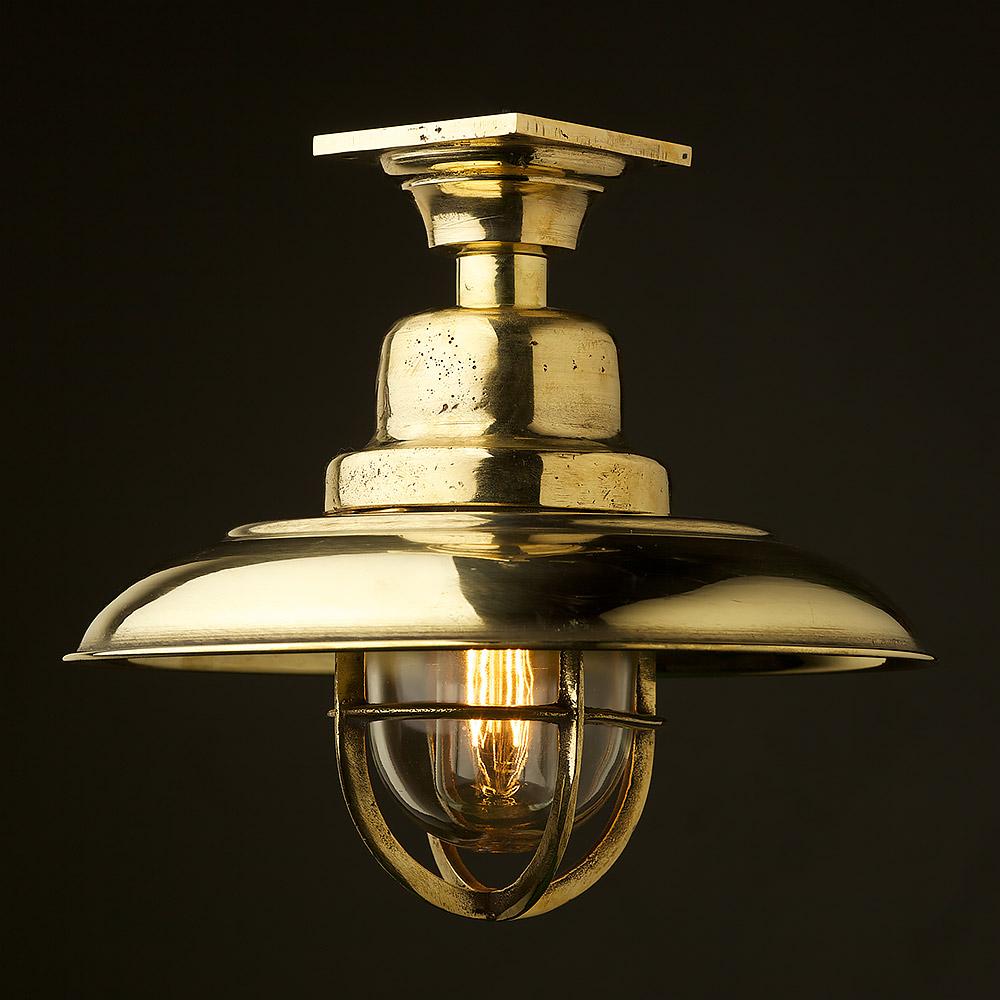 vintage brass caged reflector ceiling light