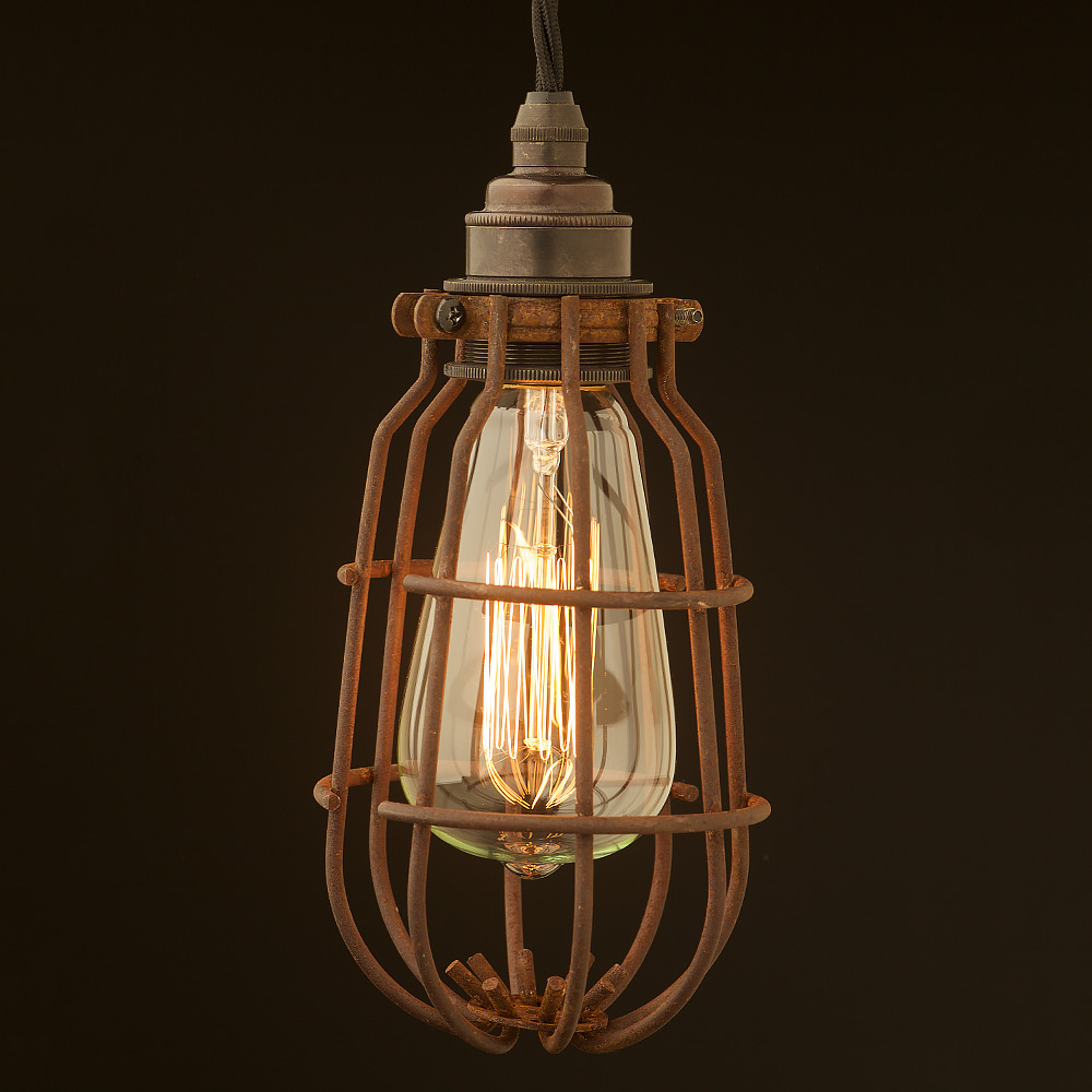 enclosed antiqued light bulb guard fitting 7 inch. Black Bedroom Furniture Sets. Home Design Ideas
