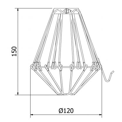 Trouble light plated brass cage fitting 6 inch