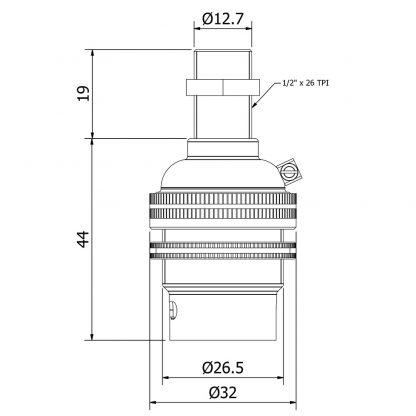 Brass Threaded Entry Lamp holder Bayonet B22 dimensions