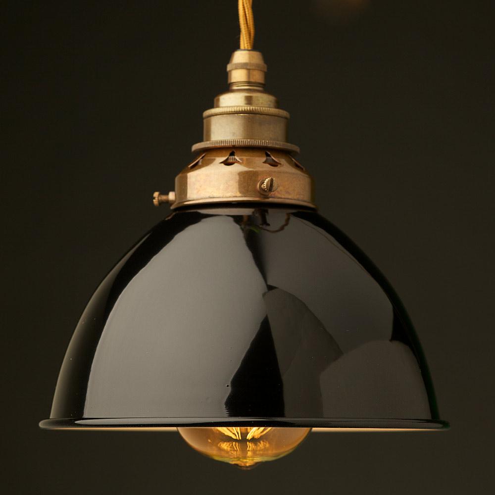 Black Enamel Dome Pendant with E27 Lampholder
