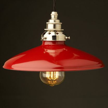 Red Enamel Coolie E27 Pendant