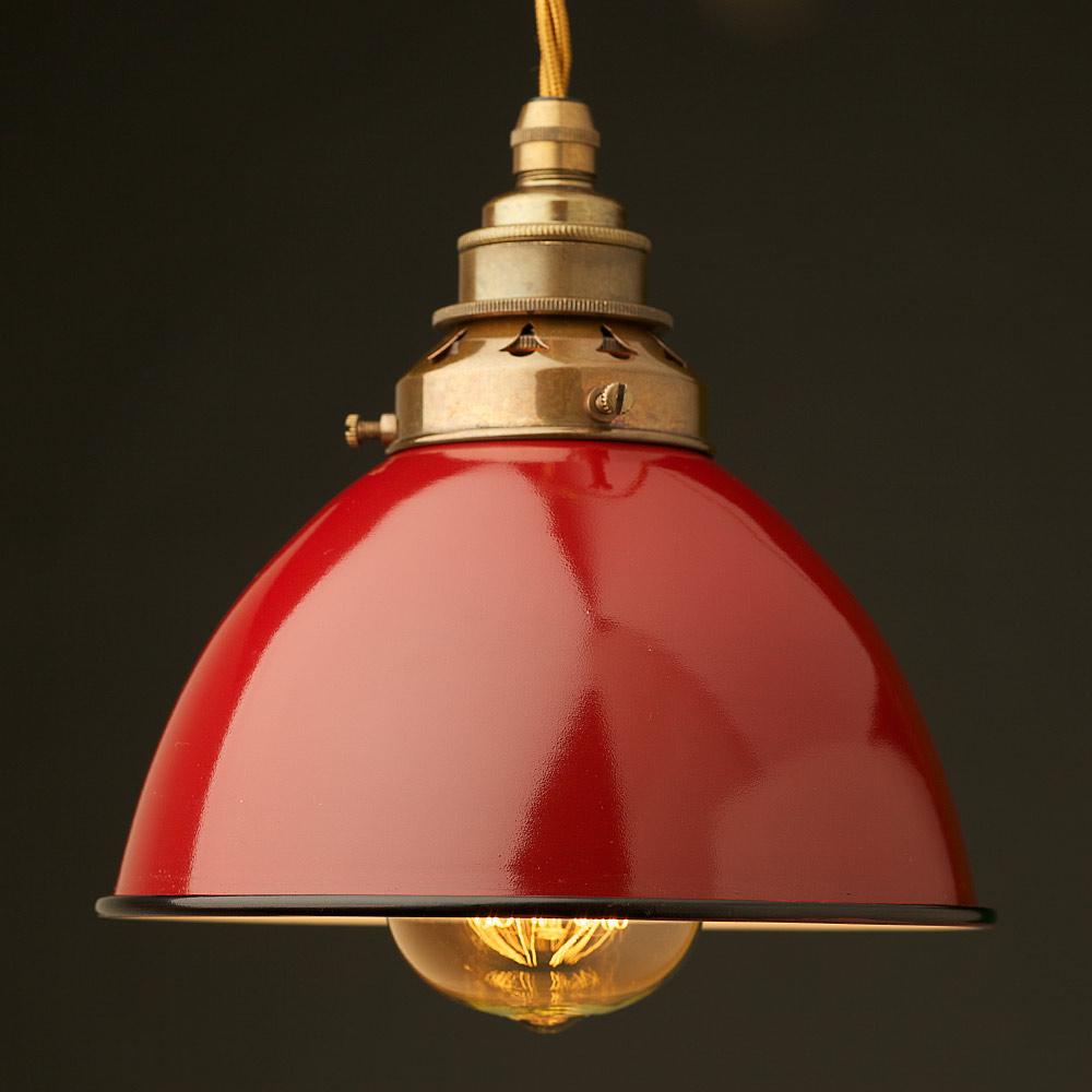 Red Enamel Dome E27 Pendant