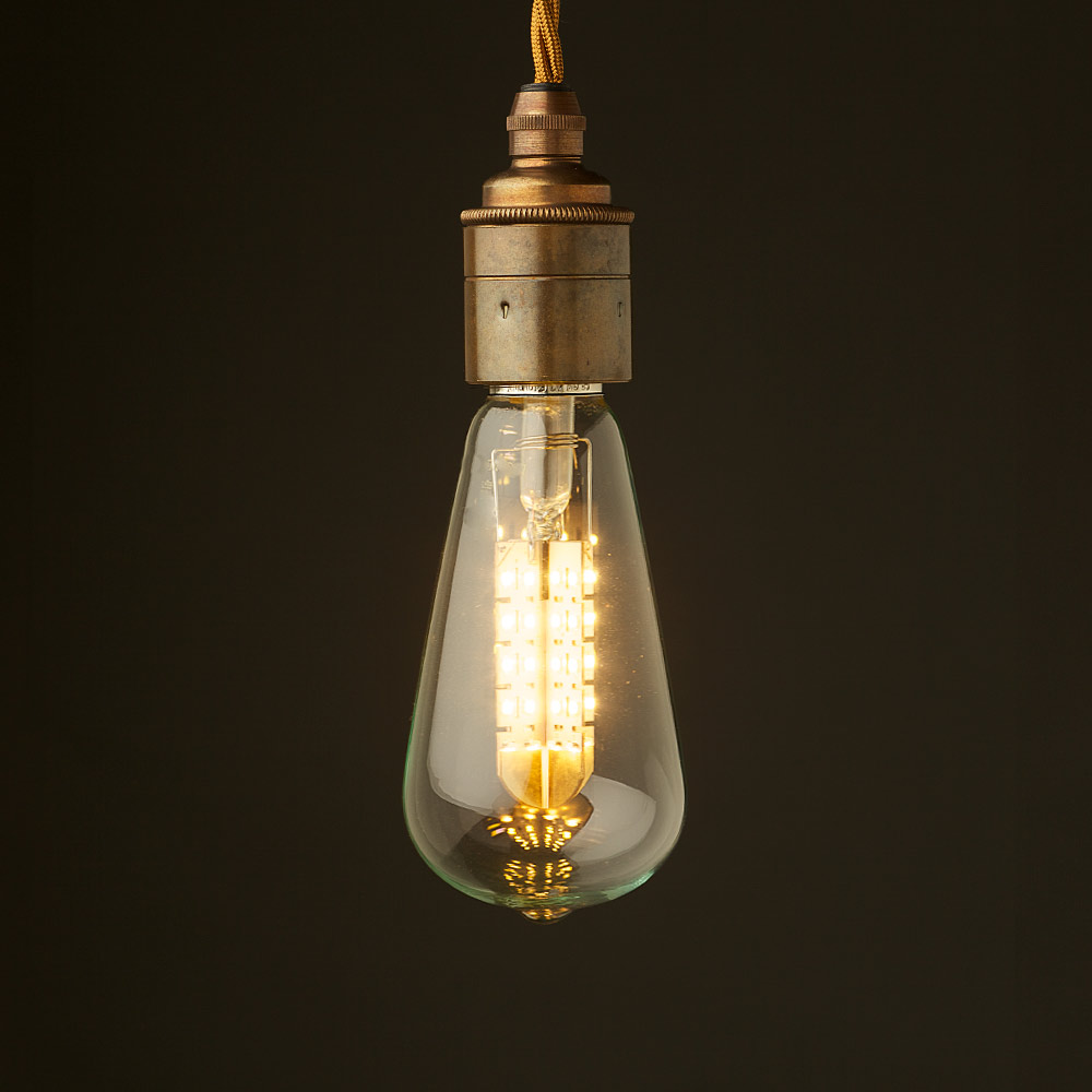 Edison Style Light Bulb And E27 Smooth Brass Fitting